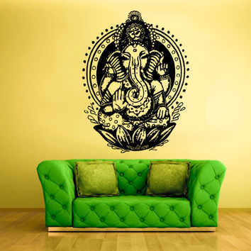 rvz1599 Wall Vinyl Sticker Decals Decor Art Bedroom Design Mural Ganesh Om Lotos Elephant Lord Hindu Success Buddha India