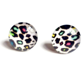 NICKEL FREE White Rainbow Cheetah Leopard Studded Earrings for Sensitive Ears