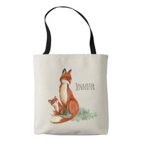 Momma Fox and Baby Watercolor Illustration Tote Bag
