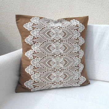 "Decorative  Pillow, Sand Brown Throw Pillow, Lace  Pillow, Pillow Cover 18x18"", Pillow Cushion, Natural Pillow Case, Brown Pillow Cover"
