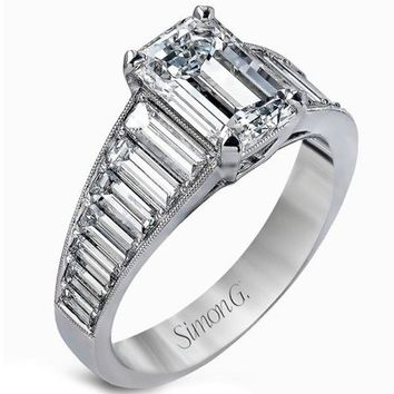 Simon G. Emerald Cut Diamond Ring Featuring Diamond Baguettes