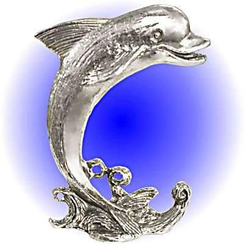 Large Wave Dolphin Pewter Figurine  Lead Free