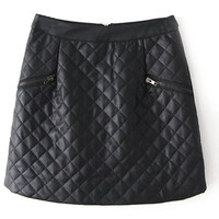 ROMWE | Double Zippered Check Black Skirt, The Latest Street Fashion