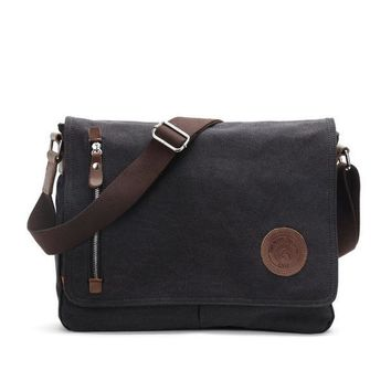 Vintage Messenger Shoulder Crossbody Bag Leather Canvas Casual Travel