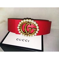 GUCCI Fashion new pearl letter buckle couple leisure belt Red