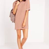 Missguided - Oversized Loopback Pocket Front Dress Dusky Pink