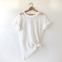 vintage cut out mesh shirt. oversized tshirt with holes. minimalist sheer net tee. white open knit top.