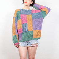 Vintage 80s Sweater Color Block Textured Cable Knit Rainbow 1980s Sweater Faded Hipster Jumper New Wave Cozy Boyfriend Sweater M L Large XL