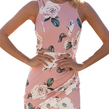 ♡ Floral Print Sleeveless Bodycon dress ♡