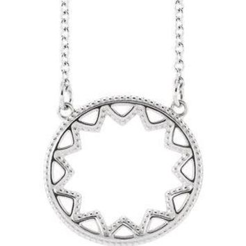 14K White Milgrain Sun Necklace