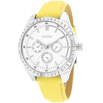FOSSIL® Women's Carissa Yellow Leather Quartz Watch with Silver