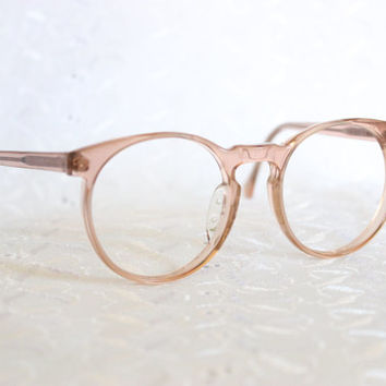 80s Glasses 1980's Round Eyeglasses Tan Translucent Horn Rim Unisex 50/20 Hudson Z-87 Safety Optical Frame