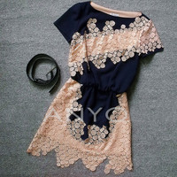Cute hollow out lace fashion dress - 2colors in from Girlsfriend