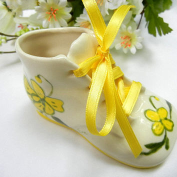 Ceramic Baby Shoe with Actual Ribbon Laces: Handpainted Yellow Floral Design
