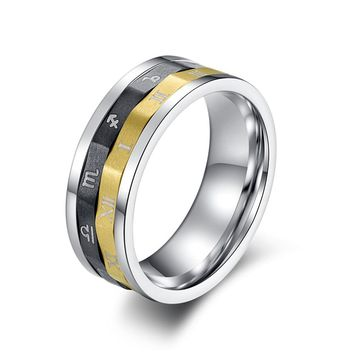 3-color Zodiac Ring for Men and Women Titanium Steel Roman Numeral Ring Men's Spinner Ring 8mm