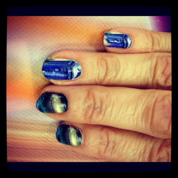 Doctor Who phone booth GALAXY nail decals