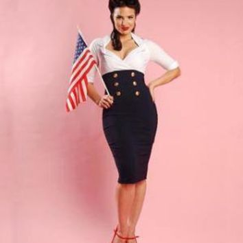 Military Secretary Dress in White and Navy