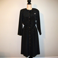 Vintage 80s Black Dress Size 10 Petite Black White Dress 1980s Dresses Polka Dot Long Sleeved Secretary FREE SHIPPING Medium Womens Clothing