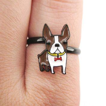 Adorable Boston Terrier Puppy Shaped Adjustable Ring in Brown and white | DOTOLY