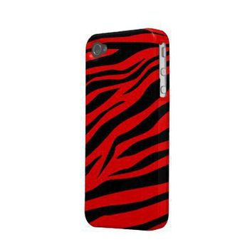 Stunning Black/Red Zebra Print - iPhone 4/4s Case Case-mate Iphone 4 Cases from Zazzle.com