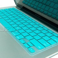"Kuzy - TURQUOISE Hot Keyboard Cover Silicone Skin for MacBook Pro 13"" 15"" 17"" (with or w/out Retina Display) iMac and MacBook Air 13"" - Turquoise Hot"