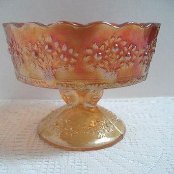 Fenton Orange Tree Marigold Tall Champagne / Sherbet Iridescent Carnival Glass