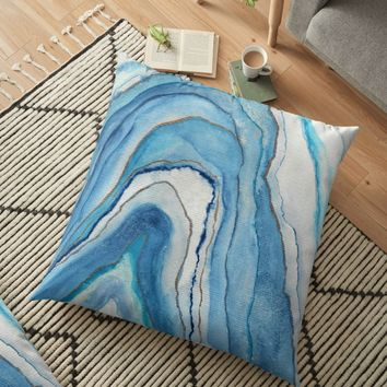 'AGATE Inspired Watercolor Abstract 02' Floor Pillow by Viviana Gonzalez
