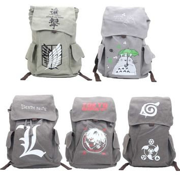 Cool Attack on Titan Big Anime One Piece Naturo Totoro  Tokyo Ghoul Death Note canvas School Bag Backpack Travel Bags AT_90_11