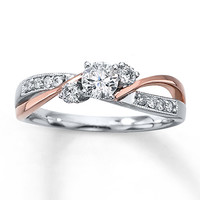 Diamond Engagement Ring 3/8 ct tw Round-cut 14K Two-Tone Gold