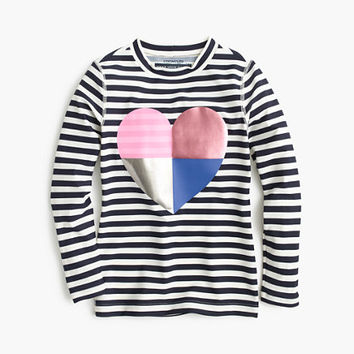 crewcuts Girls Striped Rash Guard With Foil Heart