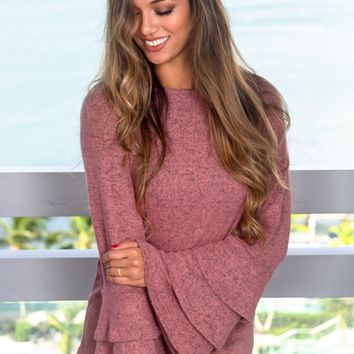 Mauve Top with Ruffle Bell Sleeves
