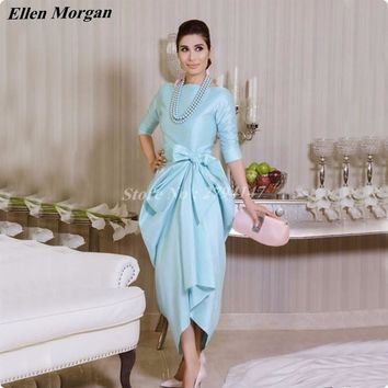 Beautiful Tea Length Cocktail Dresses For Party 2017 Fashion Abiye Arabic Half Sleeve O neck Cheap Special Occasion Evening Gown