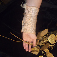 Nunofelted gold braceletOOAKbridal jewelry hand by LanaDiNata