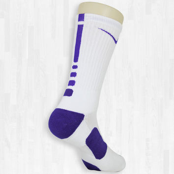 White/Purple Elite Socks | Rock 'Em Apparel