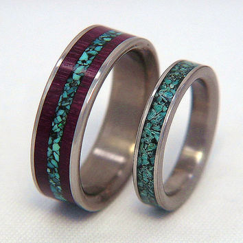 Titanium or Carbon Fiber Wedding Band or Ring Set - Mix or Match Set 1 Combo Inlay and 1 Single Inlay Ring