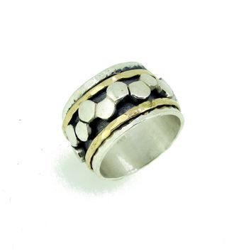 Wide Spinner Ring Silver and Gold