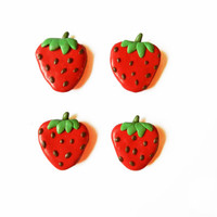 Strawberry Magnets - Kitchen Magnets - Food Magnet - Polymer Clay Magnet - Fruit Magnet - Magnet Set - Refridgerator Magnet - Summer Magnets