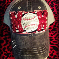 Custom School Team Distressed Mesh Baseball MOM Bling Hat