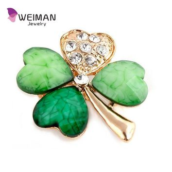 Four Leaf Clover and Crystal Diamante Irish Shamrock Green Brooch