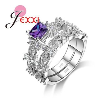 JEXXI Fashion CZ   Bridal Wedding Rings Set For Woman 925 Stamped Sterling Silver Promise Finger Ring Set For Lady Jewelry