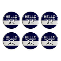 Ari Hello My Name Is Plastic Resin Button Set of 6