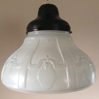Vintage Large Hanging Pendant Light White Embossed Glass Art Nouveau 1930s