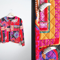 Silver Tooth - Vintage quilted bright print fall womens layered jacket coat horn tooth toogle