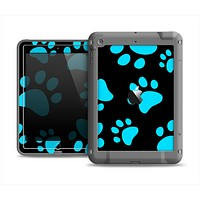 The Black & Turquoise Paw Print Apple iPad Mini LifeProof Fre Case Skin Set