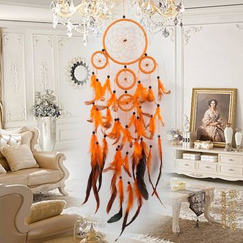 Five-rings Orange Dream Catcher Handmade Dreamcatcher with Feather Wall Hanging