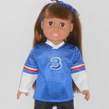 American Girl or Boy Doll Blue Football Jersey with Long Sleeves fits 18 inch dolls