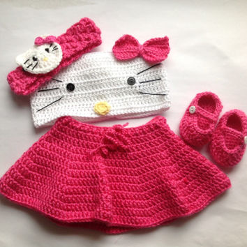 Handmade Crochet Hello Kitty outfit set (tube top, skirt, headband and booties) in any size you like, hello kitty headband