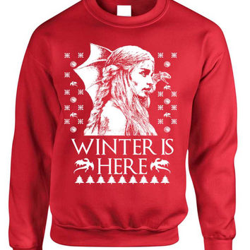 Adult Crewneck Winter Is Here Ugly Christmas Sweater Khalessi Top