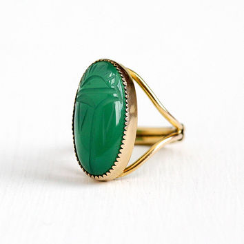 Vintage 12k Rosy Yellow Gold Filled Carved Green Chalcedony Scarab Ring - Adjustable Green Beetle Gem Egyptian Revival Statement Jewelry