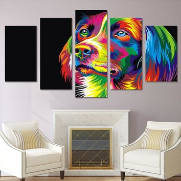 Abstract Dog Colors Wall 5 piece panel wall art picture painting style room